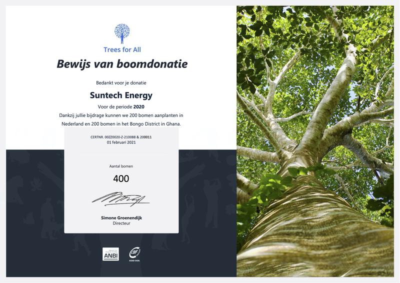 Donatie bomen in 2020